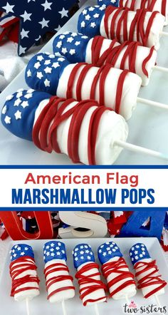 American Flag Marshmallow Pops are unique and delicious of July treats. So easy to make and you wont believe how delicious this Red White and Blue dessert is to eat. They would be a fun Fourth of July dessert for your of July Party. Fourth Of July Cakes, Fourth Of July Decor, 4th Of July Desserts, 4th Of July Celebration, 4th Of July Decorations, 4th Of July Party, July 4th, Patriotic Party, Patriotic Desserts