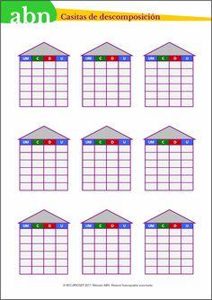 Método ABN. Casitas de descomposición para números de cuatro cifras Maths, Multiplication Activities, Arts And Crafts, To Tell, Preschool Math Activities, Educational Activities, First Grade Math, Second Best