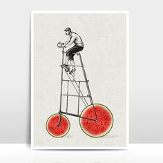 """Digitaldruck - A4 Print / Collage """"Melonenradler"""" - ein Designerstück von Amy-and-Kurt bei DaWanda"""