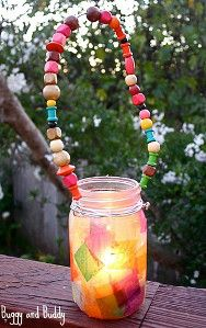 Indoors or out, these Rainbow Mason Jar Lanterns will look simply beautiful.