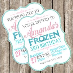 Frozen Birthday Invitation - Frozen Birthday Party - DIY Printable - White Frame by LittleMsShutterbug on Etsy