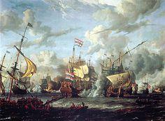 Dit is de Slag bij Kijkduin dit was een slag tussen de Engels en Nederlanders deze slag won Michiel de Ruyter door zijn slimme strategie. De Nederlanders waren in de minderheid maar toch won de Nederlandse vloot. Maar Nederland werd over land binnen gevallen door de Fransen daardoor daar kon Michiel de Ruyter niks aan doen.