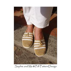 Gold and White Espadrilles with tassels and Cord-Soles attached; Basic crochet-Slippers turned into street shoes!!