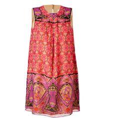ANNA SUI Magenta-Multi Printed Sleeveless Silk Dress ($470) ❤ liked on Polyvore