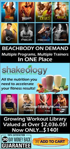 Beachbody on Demand & Shakeology valued at over $2,036.05! You can have everything and a ever growing library of online workouts for only $140! Check it out here: http://www.tipstoloseweightblog.com/shakeology/get-healthy-with-shakeology-beachbody-on-demand