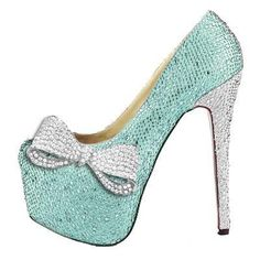 Tiffany blue crystal pumps*❣*