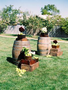 #wine-barrel, #apple  Photography: Trent Bailey Photography - trentbailey.com Floral Design: Julie Stevens Designs - juliestevensdesign.com  Read More: http://www.stylemepretty.com/2012/10/11/napa-wedding-at-the-carneros-inn-from-trent-bailey-photography/