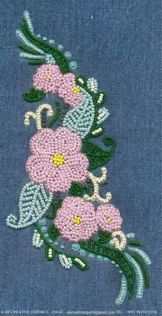 Pin by Carol Blake on Embroidery Zardozi Embroidery, Hand Embroidery Dress, Bead Embroidery Patterns, Embroidery Fashion, Hand Embroidery Designs, Floral Embroidery, Beaded Embroidery, Beading Patterns, Embroidery Stitches