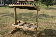 These are made out of pressure treated pine x 2 x The trough on. Homemade Deer Feeders, Deer Feeder Diy, Hunting Camouflage, Deer Hunting, Hunting Gear, Hunting Stands, Deer Stands, Deer Food, Elevated Dog Feeder