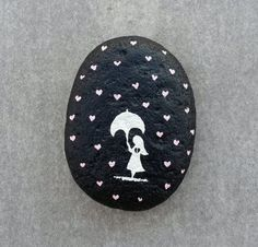 It rain hearts painted stone