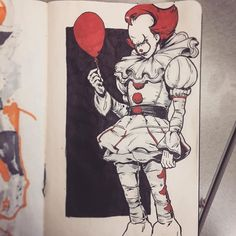 regram @mikuloctopus Sketched a #pennywisetheclown while waiting for videos to render at work today. Check out the latest @scarymovieicecreamnight where we touch on the new #it2017 movie and other remakes. #draw #sketchbook #sketch #draw #art #illustration #stephenkingsit #pennywise