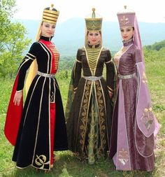 Adyghe (Circassian) traditional festive costumes. Clothing style: early 20th century.