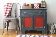 Red Cabinets, Room Dimensions, Paint Furniture, Furnitures, Decoration, Cupboard, Farmhouse Style, Nightstand, Dining Room