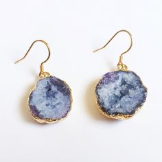 Purple Druzy earrings Small gold plated purple druzy earrings Jewelry Earrings