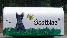 Scottish Terrier Puppy Scottie Hand Painted Mailbox by paintedpooches, $68.00    Back by popular demand, I'm painting mailboxes again!  I can also work from your photographs so please do not hesitate to ask.  amanda@paintedpooches.com  store.paintedpooches.com