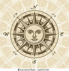 Vector - Vintage sun compass rose - stock illustration, royalty free illustrations, stock clip art icon, stock clipart icons, logo, line art, EPS picture, pictures, graphic, graphics, drawing, drawings, vector image, artwork, EPS vector art