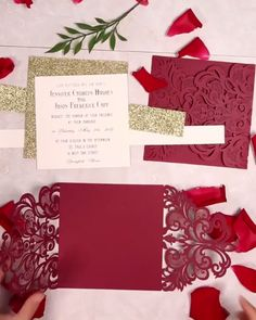 Country Wedding Discover fall burgundy laser cut wedding invitations with gold glittery belly band If burgundy is one of your wedding colors this invitation in the video will inspire you! Laser Cut Wedding Invitations, Diy Invitations, Wedding Invitation Cards, Wedding Stationery, Wedding Cards, Invitation Ideas, Burgundy Wedding Invitations, Wedding Tips, Fall Wedding