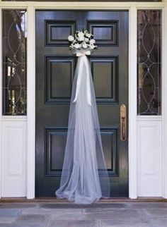 engagement party ideas decorations Front door greeting for a bridal shower that takes its inspiration from the bridal veil. See more bridal shower decorations and party ideas at Bridesmaid Brunch, Bridesmaids, Bridesmaid Duties, Before Wedding, Bridal Shower Party, Bridal Showers, Bridal Luncheon, Bridal Shower Chair, Bridal Shower Sayings