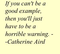 If you can't be a good example, then you'll just have to be a horrible warning. --Catherine Aird