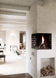 Just a fireplace in the middle of a wall, no big deal.