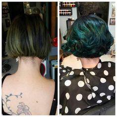Ignore @rockalily 's hairy neck we tidied it up. Crazy hairline. We're doing a test half head with one brand of turquoise and half head with the other. We will take pictures of the fade after every wash. #turquoisehair