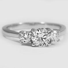 18K White Gold Petite Three Stone Trellis Ring // Set with a 0.78 Carat, Round, Ideal Cut, H Color, SI1 Clarity Lab Diamond #BrilliantEarth