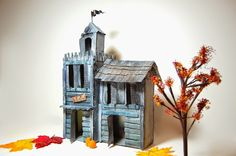 sewing belly buttons boutique: Halloween CARDBOARD haunted house made from cardboard boxes