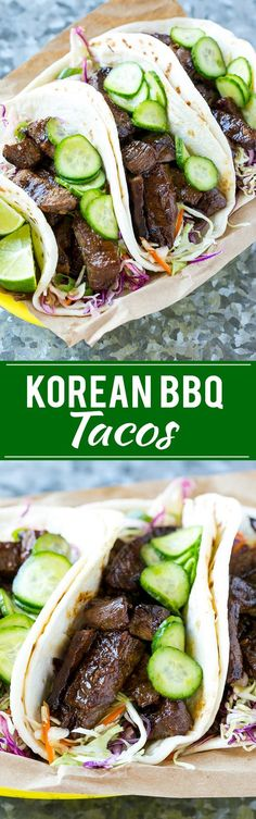 This recipe for Korean BBQ Tacos are marinated and seared beef layered with cabbage slaw and marinated cucumbers, all tucked into warm flour tortillas. A unique take on taco night that's a real crowd pleaser! These tacos were so good! Asian Recipes, Beef Recipes, Mexican Food Recipes, Cooking Recipes, Cake Recipes, Cooking Tips, Sirloin Recipes, Kabob Recipes, Fondue Recipes