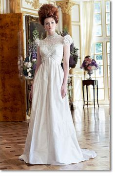 Darcy by Ian Stuart. I love the Jane Austen feeling that this dress gives. Also love the casual walk in the garden feeling. Wedding Gown, white, regency