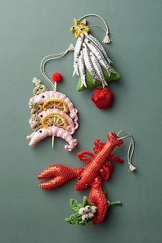 Anthropologie Christmas Decorations by Kate Jenkins Crochet Christmas Ornaments, Cozy Christmas, Christmas 2017, Felt Ornaments, Holiday Ornaments, Christmas Time, Vintage Christmas, Christmas Crafts, Christmas Decorations