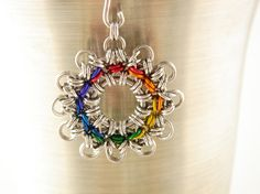 Chainmaille 12 Point Sun Pendant in Rainbow and by TwistedMaille