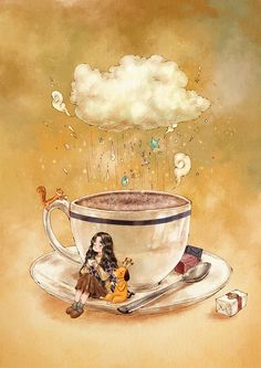 A cup that soothes me in coldness. A cup that instills sweetness into my exhausted brain. A cup of deep and sweet hot cocoa. Drinking this… Coffee Illustration, Illustration Girl, Coffee Love, Coffee Art, Coffee Shop, Bisous Gif, Forest Girl, Tea Art, Anime Art Girl