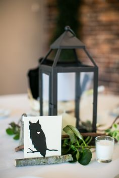 Snow White inspired wedding. Lanterns with vines and candles for an enchanted forest look. Animals instead of table numbers for seating assignments. Photo by Stephiejoy.com