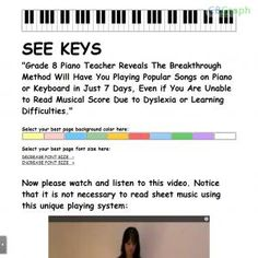 Developed By Samantha Griffiths Of Asapiano, See Keys Is A Specially Adapted Series Of Lessons Designed To Teach Children Or Adults With Learning Difficulties How To Play Popular Songs On Piano Or Keyboard. See more! : http://get-now.natantoday.com/lp.php?target=seekeys
