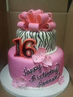 Sweet 16 Birthday Cake - *Hot pink and hand painted zebra stripes with a fondant bow and fantasy flowers. Fondant Bow, Fondant Flowers, Fondant Cakes, Cupcake Cakes, Car Cakes, Sweet 16 Birthday Cake, Birthday Cakes, Birthday Ideas, Rose Cake Tutorial