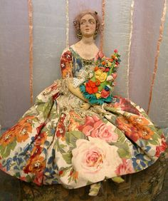 "VERY RARE 29"" SPANISH PAGES MUNECAS FASHION LADY ANTIQUE DOLL"