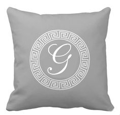 greek key monogram -grey