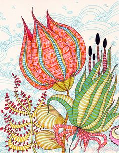 "Zentangle & Doodling Зентангл и Дудлинг ""Petals"" - ink abstract by Yellena James Art And Illustration, Yellena James, Tangle Art, Flower Doodles, Art Journal Pages, Doodle Art, Altered Art, Flower Art, Watercolor Art"