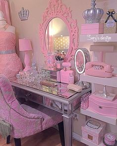 Dream Rooms For Girls Makeup Vanities - Decoration Home Girl Bedroom Designs, Girls Bedroom, Bedroom Decor, Hot Pink Bedrooms, Dream Rooms, Dream Bedroom, Vanity Room, Vanity Area, Kawaii Room