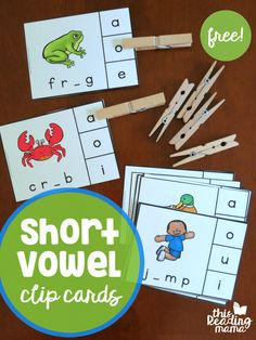 Great way to start reading. free-short-vowel-clip-cards-ccvc-cvcc-words-this-reading-mama Short Vowel Activities, Phonics Activities, Classroom Activities, Short Vowel Games, Kindergarten Centers, Kindergarten Reading, Teaching Reading, Kindergarten Phonics, Jolly Phonics
