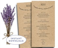Printable Wedding Menu Template, Kraft Menu Template, 4 X Editable Text,  Word, Menu Card Template Rustic Menu Template Capistrano  Menu Templates Free Download Word