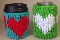 Crochet Heart Cup Cozy Tutorial - free video tutorial by bobwilson123.