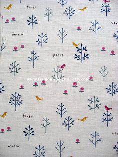 Half Yard - Japanese Linen Cotton Blended Fabric - Bird and Tree