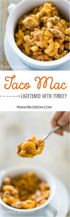 This one skillet creamy ground turkey taco mac recipe is the perfect lightened up comfort food. The taco seasonings and cream cheese with noodles make it kid-friendly, the lighter turkey and tomatoes make it great for mom & dad!