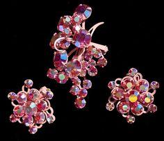 Pink Enamel Demi Set Aurora Borealis AB Rhinestone Brooch and Earrings Vintage | eBay
