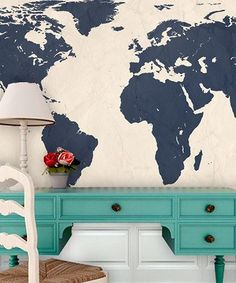 Navy World Atlas Map Adhesive Print by Swag Paper
