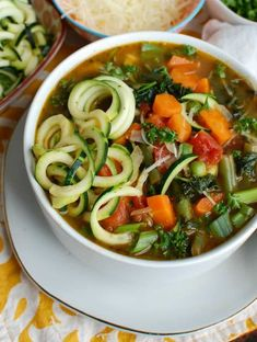 Spring Vegetable Minestrone is a light, healthy soup packed with vegetables, diced tomatoes and fresh herbs. This is a nice vegetarian meal that you can easily add chickpeas or white beans to and bulk it up. Healthy Salads, Healthy Vegetables, Healthy Recipes, Healthy Cooking, Veggies, Soup Recipes, Cooking Recipes, Vegetarian Meal, Vegan Soup