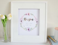 These beautiful custom name and birth announcements are perfect to display in your babes nursery and make a lovely gift. All prints are hand made using real rose gold foil and printed on white A4 (8.27x11.69 inch) 200 GSM paper which is perfect for framing.Our soft rose gold foil reflects beautifully in the light so please be aware of this as it will appear different in certain lights and on different computer monitors and devices. Our prints are all individually foiled by han...
