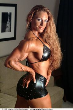 Ripped female bodybuilder ironfire works out and poses 6