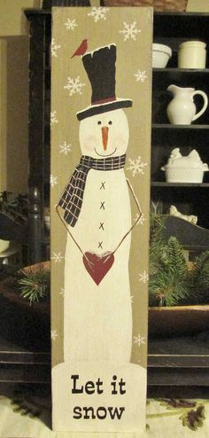 Let It Snow Handpainted Winter Sign by DaisyPatchPrimitives, $31.99